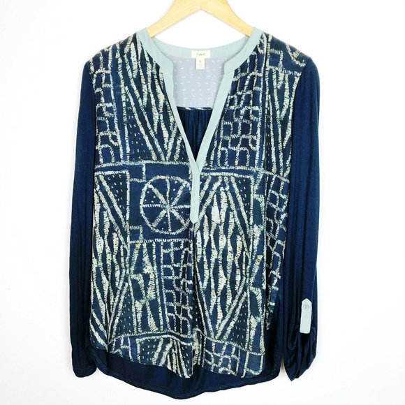 Anthropologie Tops - Anthropologie TINY Blue Deep V Neck Aqua Print Top
